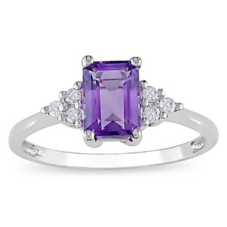 Miadora 10k White Gold Amethyst and 1/10ct TDW Diamond Ring (H-I, I2-I3)
