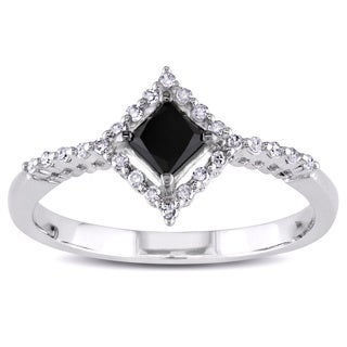 Miadora 10k White Gold 1/2ct TDW Princess-cut Black and White Diamond Ring (H-I, I2-I3)