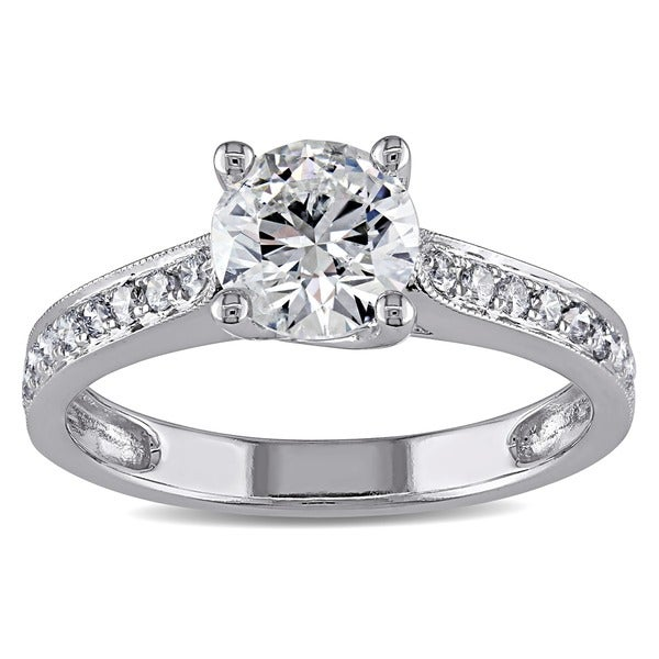 Miadora 14k White Gold 1 1/3ct TDW IGL-certified Diamond Ring (G-H, I1-I2)