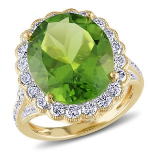Miadora 14k Yellow Gold 9ct Peridot and 1 1/4ct TDW Diamond Ring (G-H, SI1-SI2)