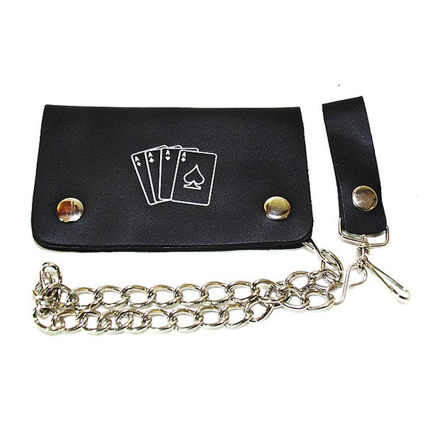Hollywood Tag Playing Cards Printed Leather Bi-fold Chain Wallet