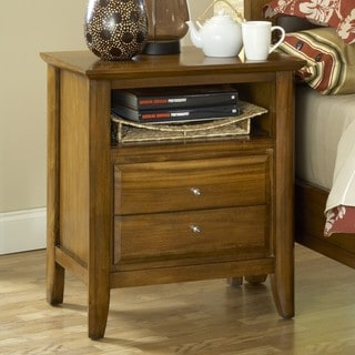 Pecan 'Contemporary Shaker' 2-drawer Charging Station Nightstand