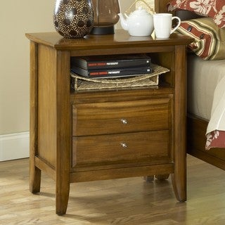 Pecan 'Contemporary Shaker' 2-drawer Nightstand