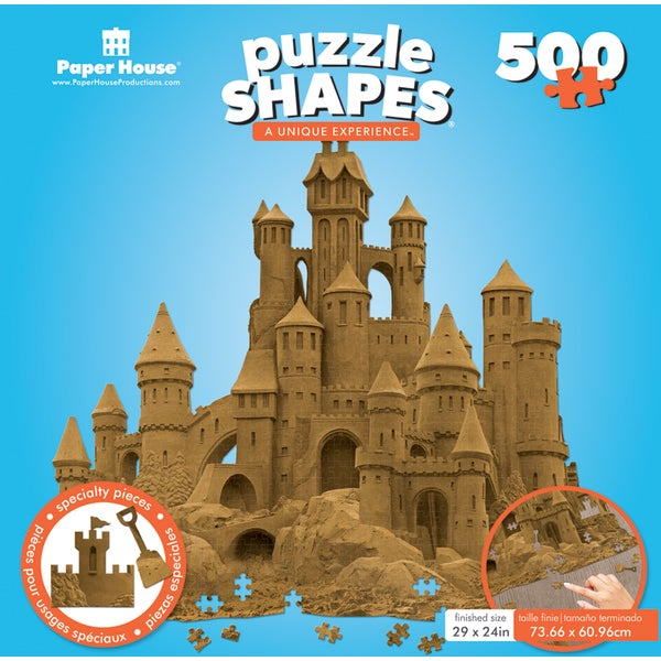 "Jigsaw Shaped Puzzle 500 Pieces 30""x28"" Sand Castle"
