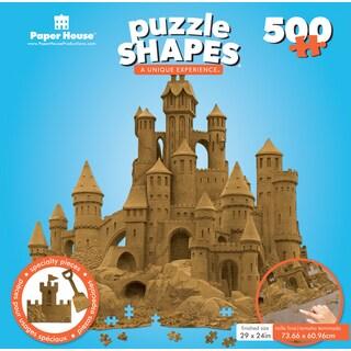 """Jigsaw Shaped Puzzle 500 Pieces 30""""x28"""" Sand Castle"""