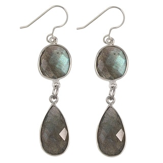 Sterling Silver Faceted Gemstone Beauty Dangle Earrings (USA)
