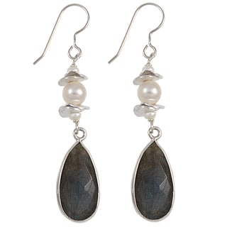 Handmade Sterling Silver Faceted Gemstone and Freshwater Pearl Dangle Earrings (USA)