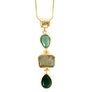 ELYA Goldplated Green Dyed Chalcedony Tiered Necklace