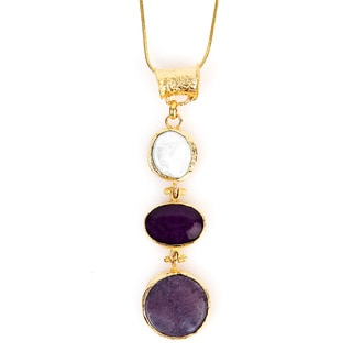 ELYA Goldplated Amethyst and Mother of Pearl Tiered Necklace