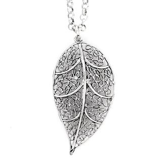 ELYA Designs Silvertone Leaf Filigree Necklace