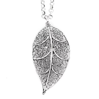 ELYA Silvertone Leaf Filigree Necklace