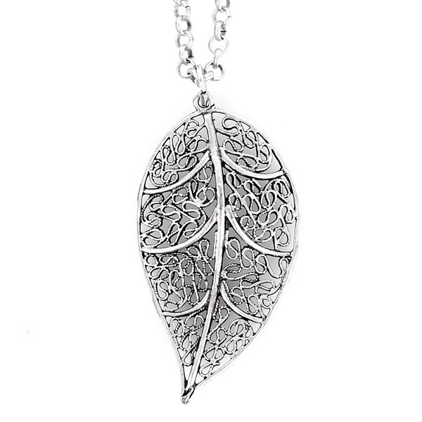 ELYA Silvertone Leaf Filigree Necklace
