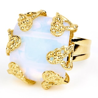 ELYA Goldplated Moonstone Antiqued Adjustable Ring