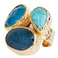 ELYA Goldplated Dyed Chalcedony, Blue Quartz and Turquoise Ring