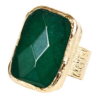 ELYA Goldplated Dyed Green Chalcedony Adjustable Ring