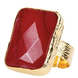 ELYA Goldplated Dyed Red Chalcedony Adjustable Ring