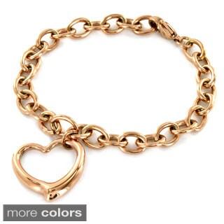 ELYA Stainless Steel High Polish Heart Charm Chain Bracelet