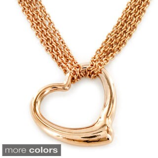 ELYA Stainless Steel Open Heart Layered Chain Necklace