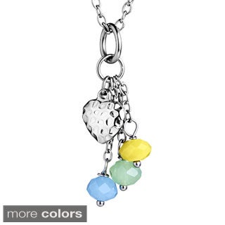 ELYA Stainless Steel Colored Resin Bead Hammered Heart Dangle Charm Necklace