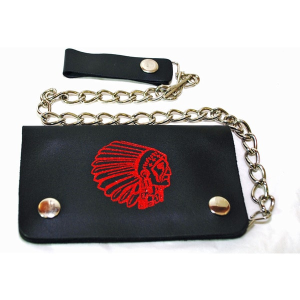 Hollywood Tag American Indian Leather Bi-fold Chain Wallet