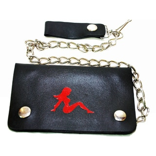 Hollywood Tag Lady in Red Leather Bi-fold Chain Wallet