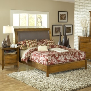 Pecan 'Contemporary Shaker' Upholstered Sleigh Bed