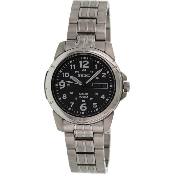 Seiko Men's Solar Silver Stainless Steel and Black Dial Quartz Watch