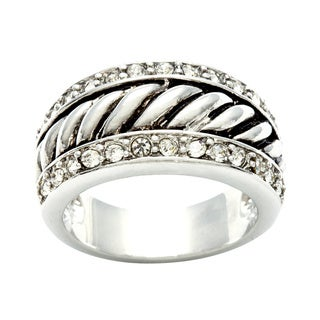 City by City Silvertone Clear Crystal Rope Ring