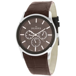 Skagen Men's SKW6001 Classic Textured Brown Leather Watch