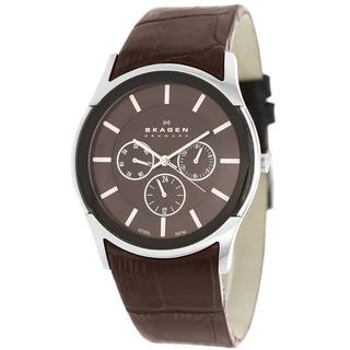 Skagen Men's SKW6001 Classic Textured Brown Leather Watch