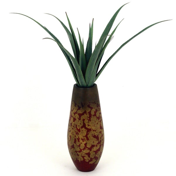 Faux Aloe 38-inch Tall Resin Vase Decorative Plant
