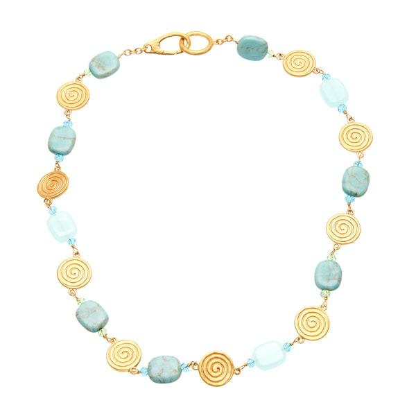 Ralph Lauren Goldtone Reconstituted Turquoise, Crystal and Quartz Necklace