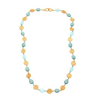Carolee Goldtone Disk Multi Bead 34-inch Fashion Necklace