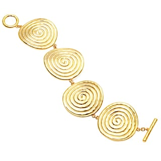 Carolee Goldtone Large Swirl Disk Fashion Bracelet