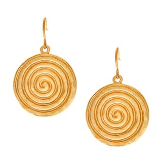 Carolee Goldtone Swirl Disk Dangle Fashion Earrings