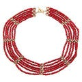 Ralph Lauren Goldtone Small Reconstituted Coral Bead 6-row Necklace