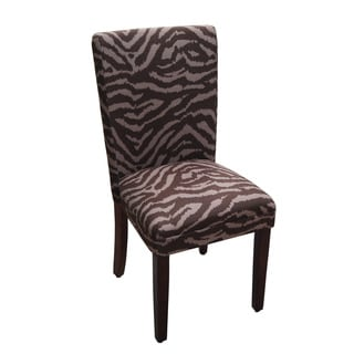 Brown Tonal Animal Print Parson Chair (Set of 2)