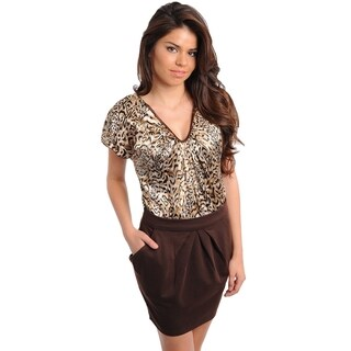 S.H.E. Women's 2tone Animal Print Brown Dress