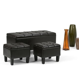 WYNDENHALL Lancaster 3-piece Rectangular Storage Ottoman Set (Set of 3)