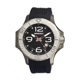 Breed Men's Henry Stainless Steel and Black Rubber Watch