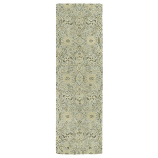 Christopher Kashan Light Blue Hand-tufted Rug (2'6 x 8'0)