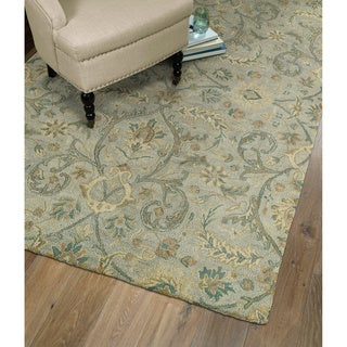 Christopher Kashan Light Blue Hand-tufted Rug (8'0 x 10'0)