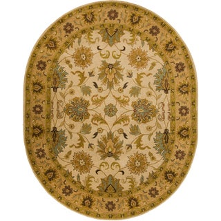 Hand-tufted Caley Tan Wool Classic Floral Rug (6' x 9' Oval)