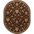 Hand-tufted Calisto Chocolate Wool Traditional Floral Rug (6' x 9' Oval)
