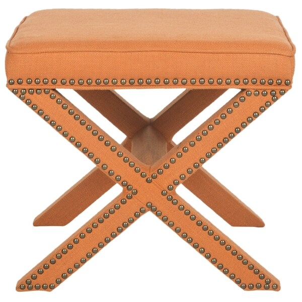 Safavieh Palmer X Bench Nailhead Tangerine Orange Ottoman 15668461 Shopping