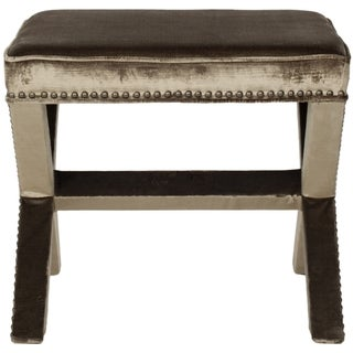 Safavieh Palmer X-bench Nailhead Viscose Antique Sage Ottoman