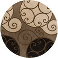 Hand-tufted Caithness Transitional Geometric Brindle Wool Rug (4' Round)