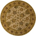 Hand-tufted Caley Classic Floral Tan Wool Rug (4' Round)