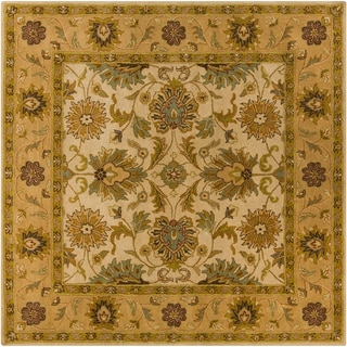Hand-tufted Caley Classic Floral Tan Wool Rug (4' Square)