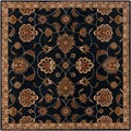 Hand-tufted Caliban Traditional Floral Ink Wool Rug (4' Square)